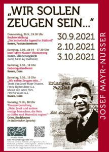 Gedenktage zum Todestag von Josef Mayr-Nusser